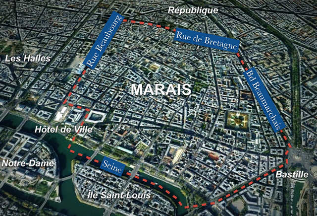 the district of marais is not an administrative one its limits are historical it is bordered by rue de beaubourg and the paris city hall to the west