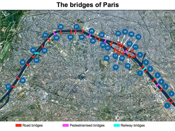 Seine in Paris Bridges Map