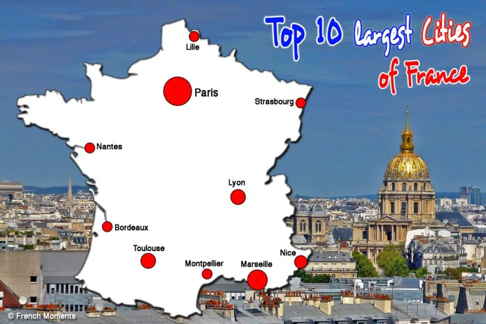 Map of the Top 10 Largest Cities of France © French Moments