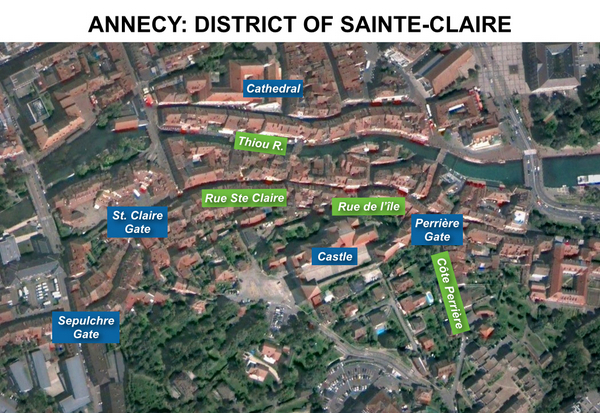 Map of St Claire district, Annecy