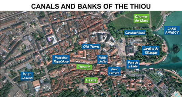 Map of Canals and banks of the Thiou, Annecy