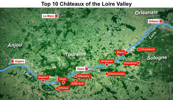 Map 10 most beautiful chateaux of the Loire by French Moments