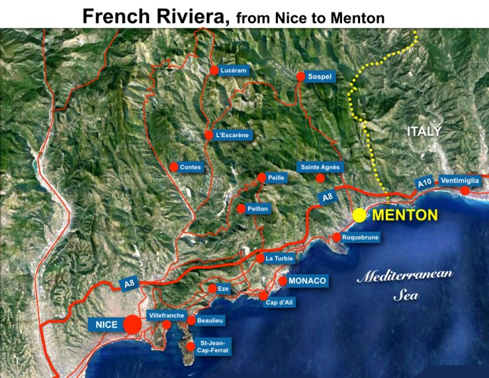 French Riviera Menton Map HR