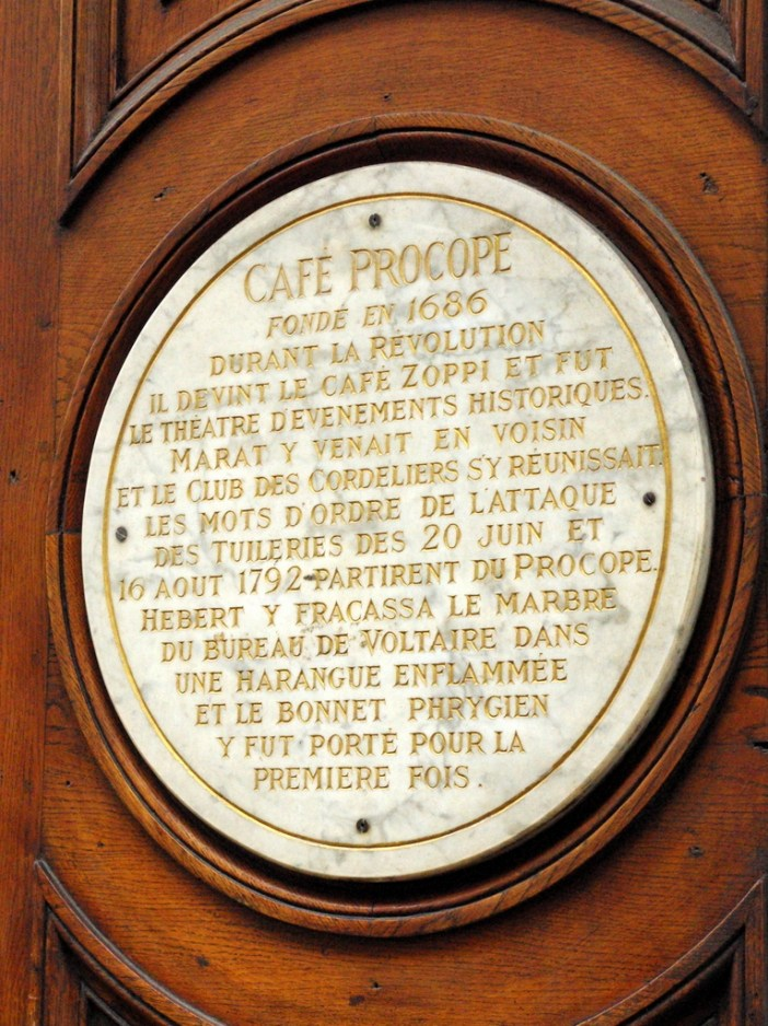 Commemorative Plaque at Le Procope © French Moments