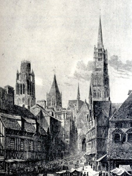 View of the Cathedral of Rouen before 1822