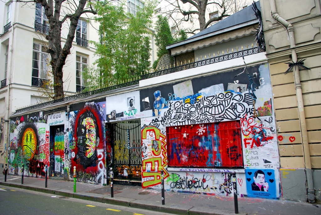 The outer wall of serge gainsbourgs house covered with graffiti french moments