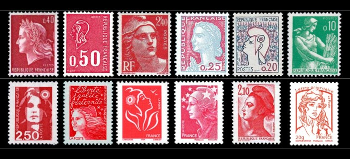 Timbres Postes Marianne