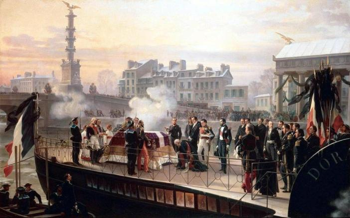 The arrival of the Dorade at Courbevoie on 14th December 1840. Painting by Félix Philippoteaux, 1867.