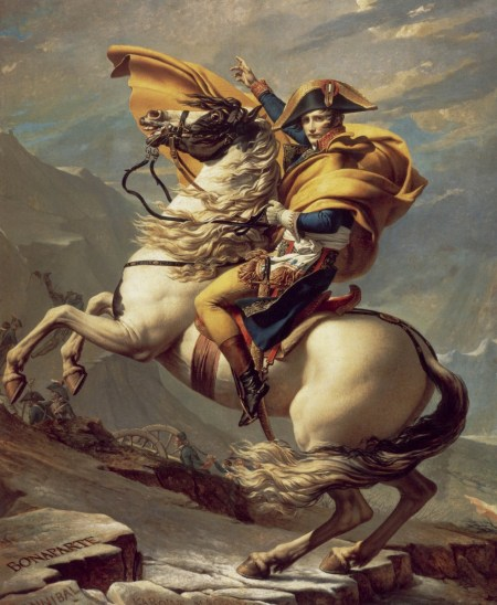 Napoleon crossing the Alps at the Great St. Bernard Pass by Jacques-Louis David