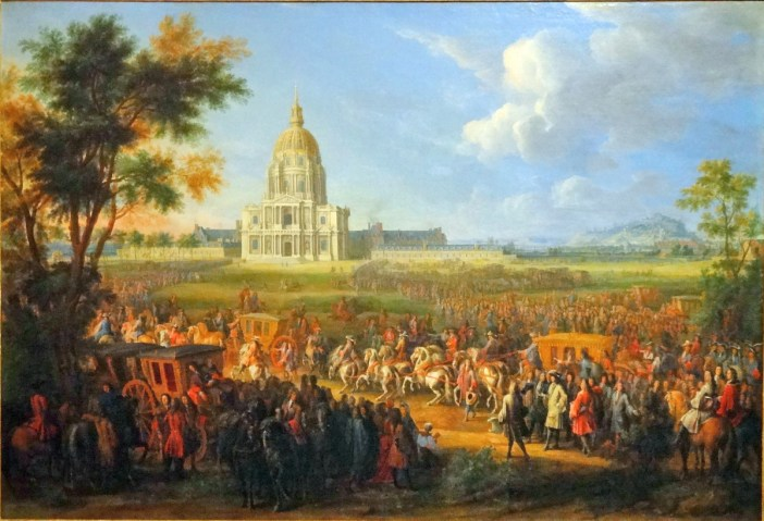 Visit of Louis XIV to Les Invalides in 1706. Painting by Pierre-Denis Martin