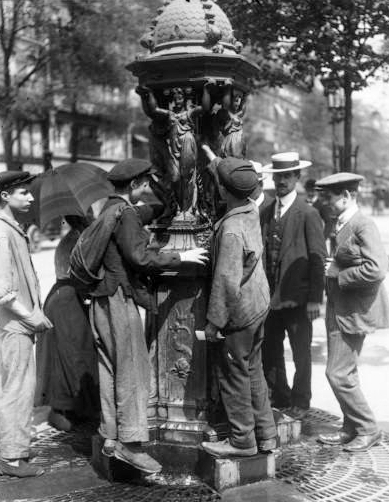Drinking from a Wallace Fountain in 1911