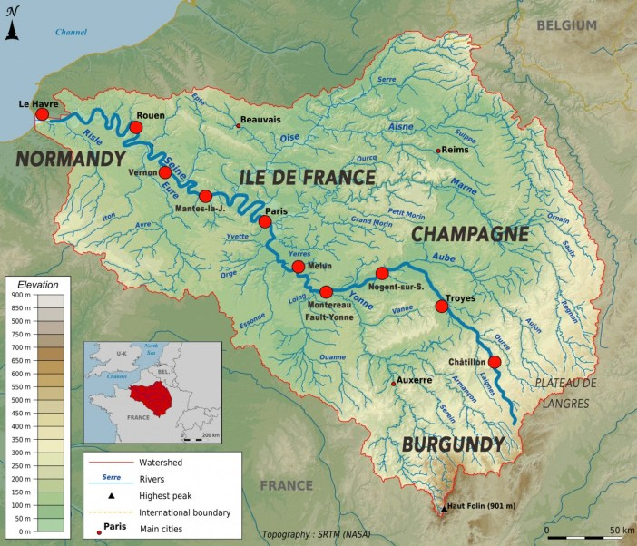 Main Rivers in France: Topographic map of the Seine basin © Paul Passy - licence [CC BY-SA 3.0] from Wikimedia Commons