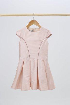 Robe en soie rose poudré