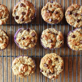 Banana Muffins with Almond Flour, Walnuts + Chocolate