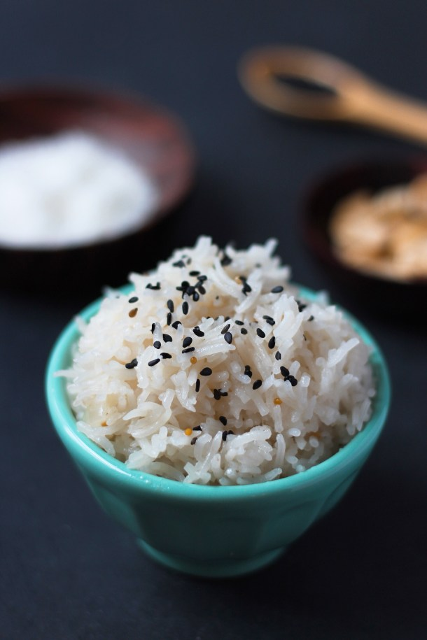 The Best Coconut Rice. This recipe is indulgent and creamy from coconut milk yet spicy and balanced from cinnamon, jalapeno and mustard seeds. #Vegan and #GlutenFree, too!