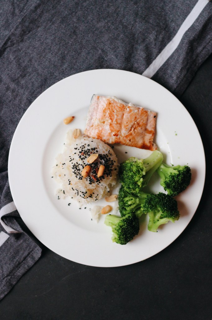 Simple healthy dinner option: Pan seared salmon // coconut rice // steamed broccoli.