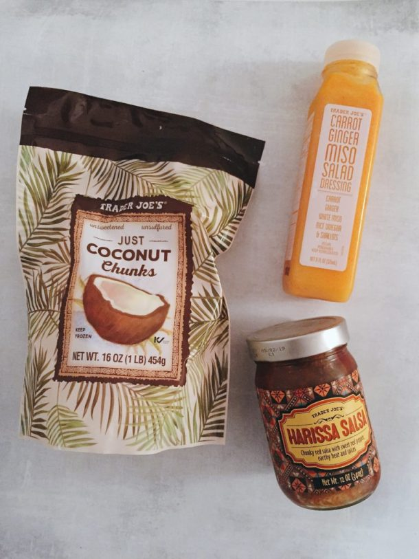 Latest Trade Joe's finds - coconut chunks, harissa salsa and orange miso dressing.