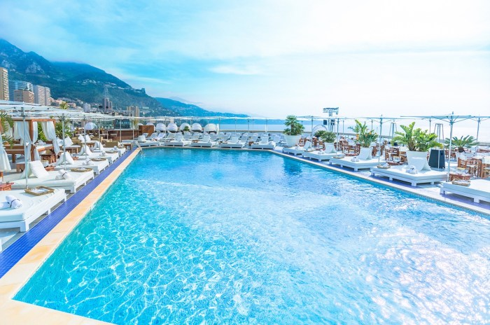 The pool of Nikki Beach at the Fairmont Hotel in Monte-Carlo, Monaco