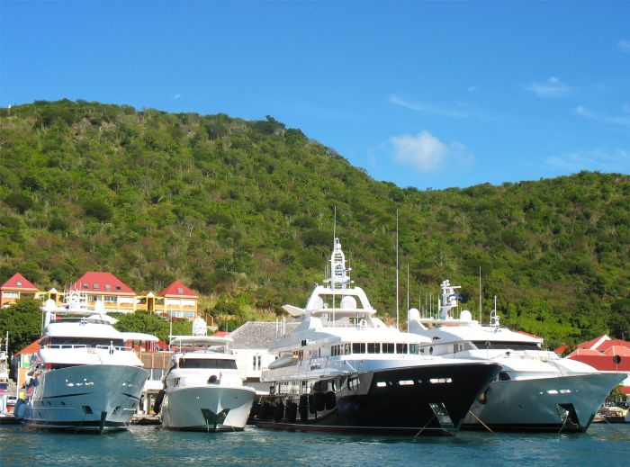 Luxury yachts in Gustavia, St Barts