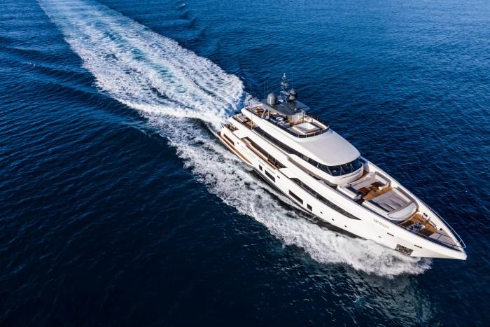 Custom Line Navetta 37 yacht at sunset helicopter shot
