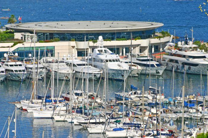 Luxury yachts outside Cannes Palais des Festivals