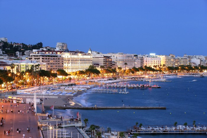 Cannes seafront evening light