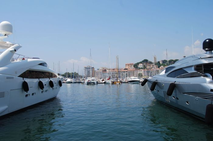 Yachts in the harbour of Cannes, France