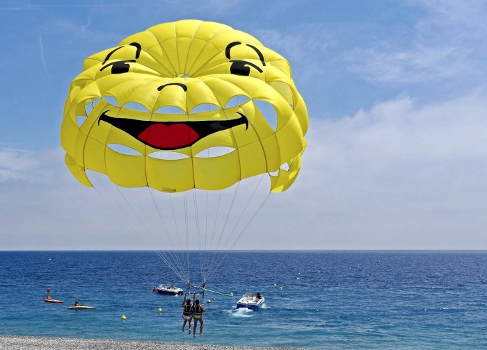 Parasailing off the beach at Nice in the south of France