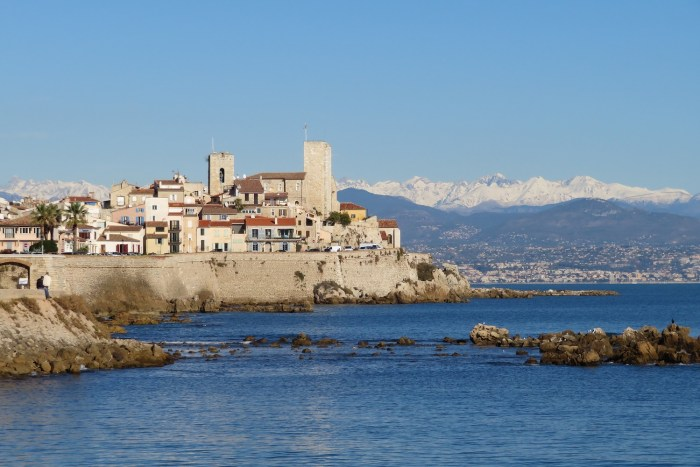 Antibes and the snow covered Alps with the Mediterranean sea in the foreground