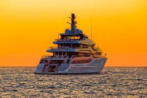 Luxurious superyacht at sunrise in the Mediterranean