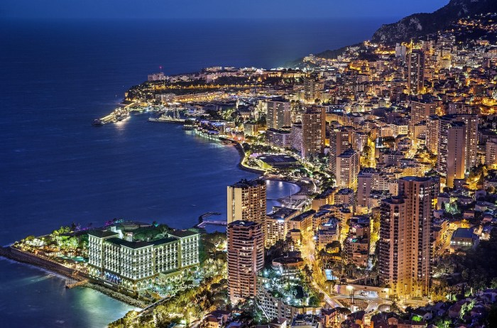 Aerial view of Monaco at dusk