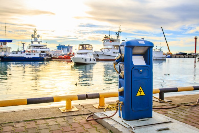 Electric charging point in marina