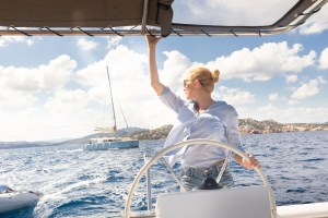 Girl on sailing yacht