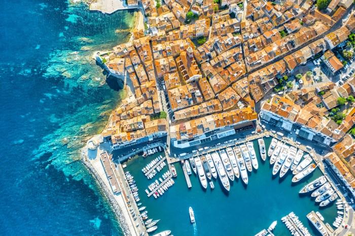 Aerial view of the Port of St Tropez, France