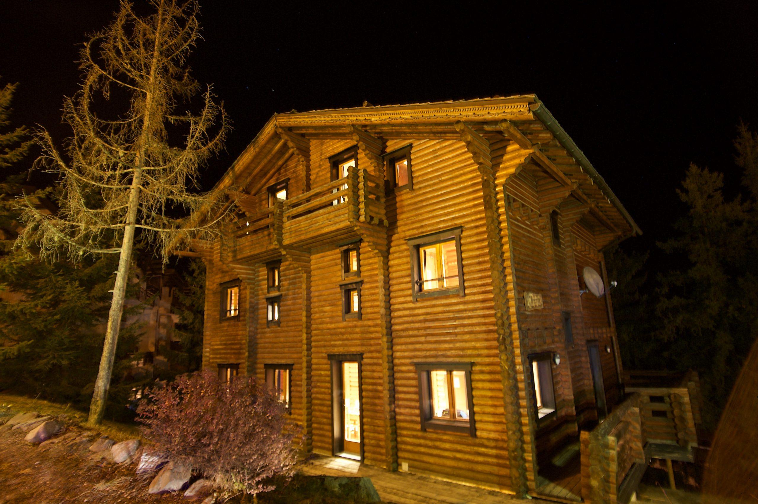 chalet at night