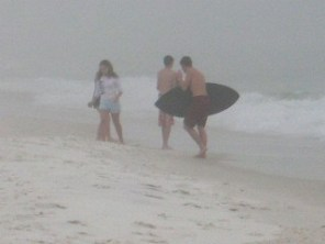 Playing in the fog and the surf