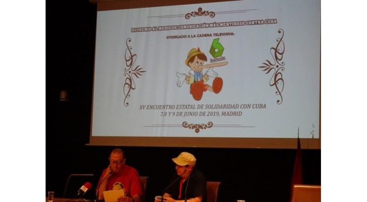 El XV Encuentro Estatal de Solidaridad concede a la Sexta el Premio al medio más mentiroso contra Cuba