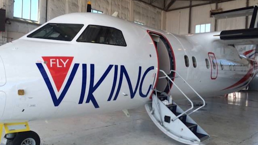 Hangar ute av styret Fly Viking bagasjen med på FlyViking