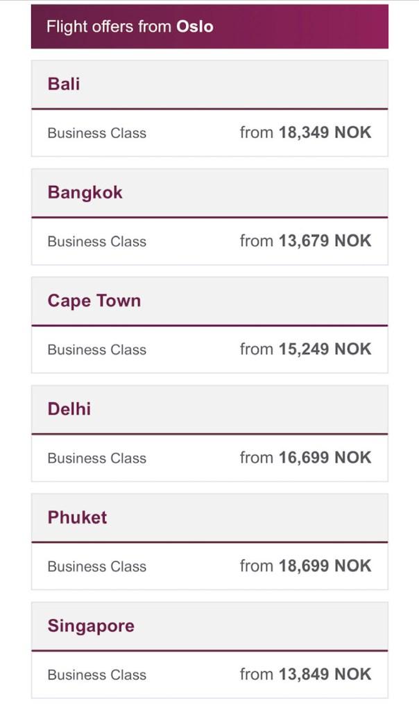 Business Class Premium tilbud