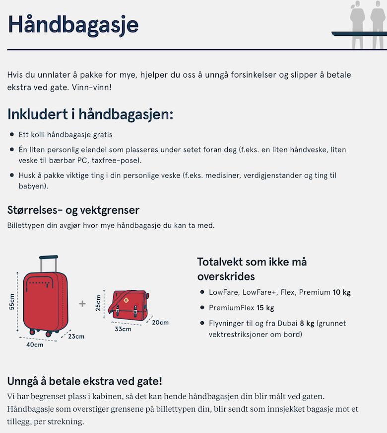 håndbagasjeregler