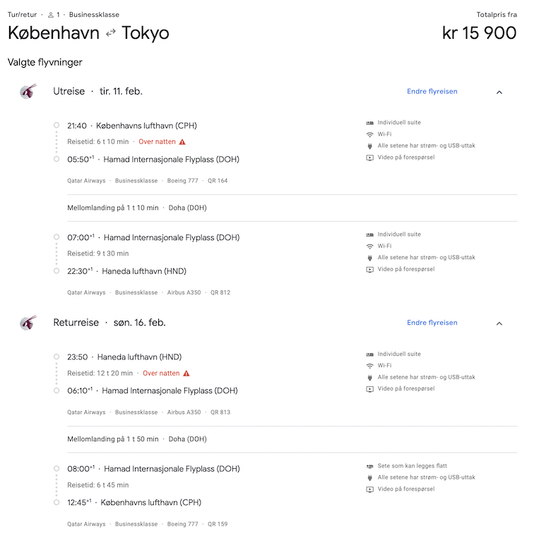 Business Class til Tokyo