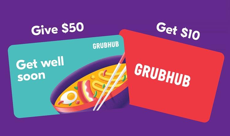 Expired Grubhub Get Free 10 Bonus Card When Buying 50