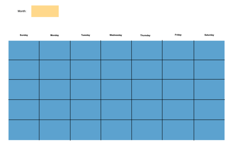 Use this template to visualize the coming month and plan out your tasks for each day.