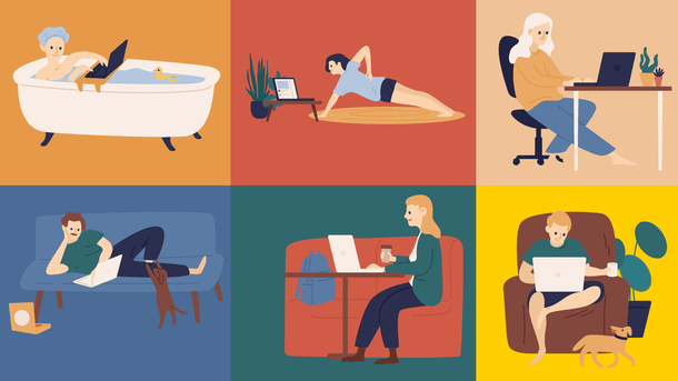 Multiple people working from home on visual collaboration platforms