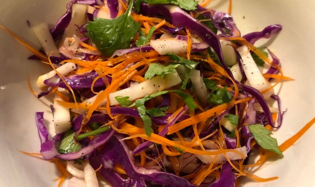 Red Cabbage and Kohlrabi Slaw