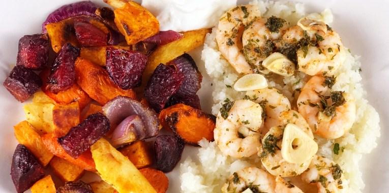 Roasted Cajun Vegetables with Drunken Shrimp Scampi