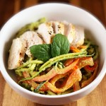 Vegetable Noodles with Mixed Baby Greens Pesto