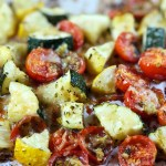 Cheesy Roasted Zucchini and Tomatoes