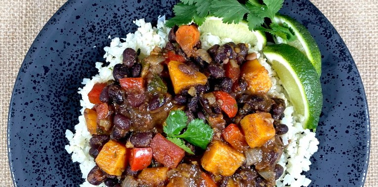 Brazilian Style Black Bean Stew and Cauliflower Rice