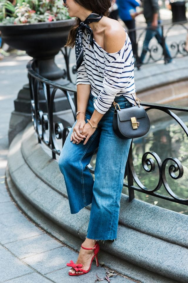 Spring Fashion trend alert! Cropped wide legged jeans.